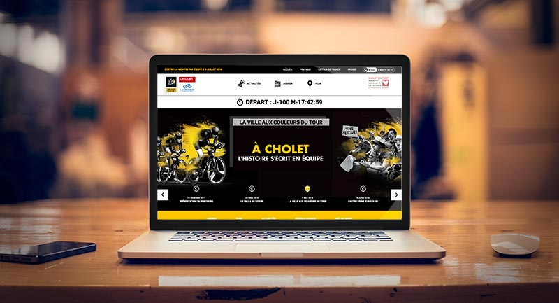 Le site Internet du contre-la-montre lors du Tour de France 2018 à Cholet